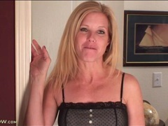 Blonde milf is gorgeous in a little black dress videos