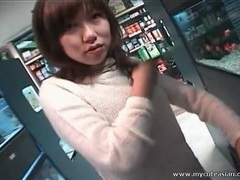 Asian sweater girl sucks dick in back room of store tubes at thai.sgirls.net