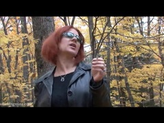 Redhead in leather jacket smokes in the woods movies at find-best-hardcore.com