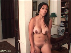 Busty naked latina shows her cunt in close up videos