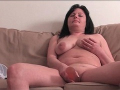 Cute euro mature strips nude to fuck her toy videos