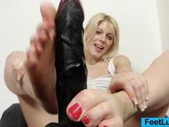 Cute blonde ruth bare feet show and footjob movies at kilotop.com