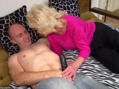 Old chubby granny in the bed has sex with horny man videos