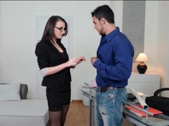 Office babe in skirt and glasses sucks his cock videos
