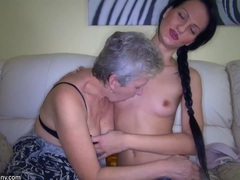 Dirty girl and nasty granny have fun in the bed with a toy videos
