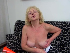 Old dirty chubby granny does masturbate and fun with herself videos