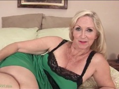 Granny looks cute in green lingerie movies at sgirls.net