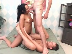 Anal bareback threesome with sizzling hot shemale movies at kilotop.com