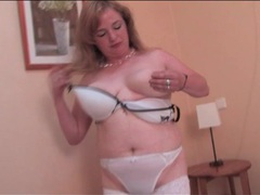 Hairy mature pussy pleasured in solo scene movies at lingerie-mania.com