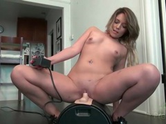Casey stone sits shaved pussy on a sybian videos
