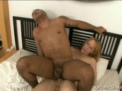 Smooth blonde shemale bareback fucks her man videos