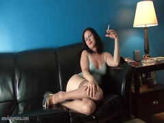Stockings and lingerie are hot on smoking girl videos