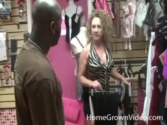 Big titty milf sluts fool around with black guy in store videos