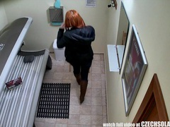 Stunning teen redhead girl with big natural tits in solarium movies at kilopics.net