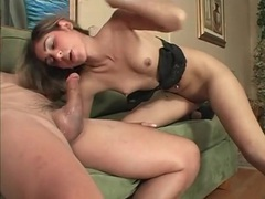 Skinny slut gets her mouth down big cock in bj videos