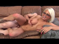 Blonde jacky joy has hot sex in glasses tubes