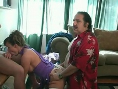 Ron jeremy fucks slut doggystyle while she blows a guy videos