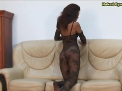Crotchless black lace body stocking on a babe videos