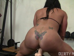 Female bodybuilder fucks a dildo in the gym movies at freekiloclips.com