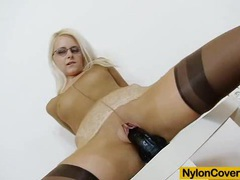 Slender blond-haired full in nylons movies at kilotop.com