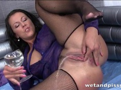 Messy piss play with hot girl in fishnet stockings movies at find-best-panties.com