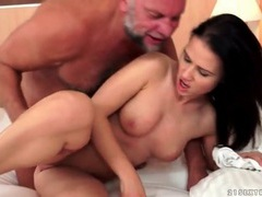 Shaved young twat banged by grandpa cock tubes