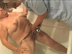 Fat wrinkled granny gets sexy sponge bath movies at kilosex.com