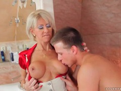 Milf slut swallows his young dick lustily videos