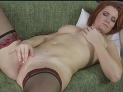 Gorgeous redheaded milf masturbates bald pussy movies at find-best-panties.com