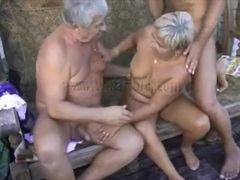 Mature threesome porn with two guys and a granny movies at lingerie-mania.com