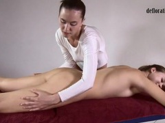 Girl in white teddy gives a sexy massage videos