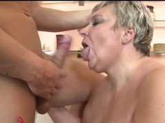 Big cock sucked on by a slutty mature blonde videos
