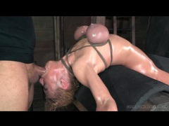 Rough face fucking of girl in tight bondage videos