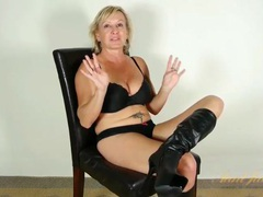 Knee high leather boots on masturbating mature videos