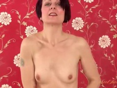 Milf unbuttons red cardigan and strips off jeans movies at find-best-babes.com