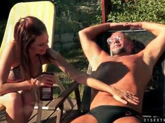 Bikini girl mira shine sucks old dick outdoors movies at kilovideos.com