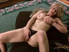 Blonde milf models sexy leopard print lingerie videos