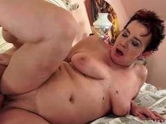 Chubby mature fools around with young guy videos