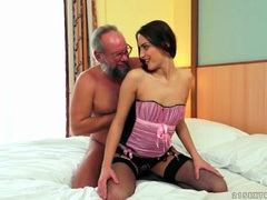Grandpa eats out a young lady in lovely lingerie videos