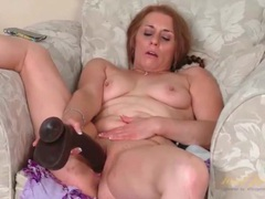 Big black dildo fucks shaved mature cunt videos