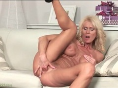Blonde mature with fake tits fingers her pussy movies at kilopills.com