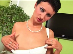 Milf strips from little dress and fingers pussy videos