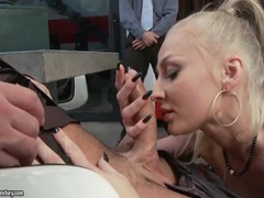 Blonde slut masturbates for two horny guys videos