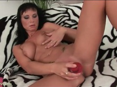 Red dildo bangs shaved cunt of cute milf movies at find-best-ass.com