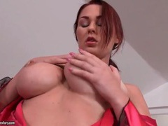Busty babe showers and models satin robe videos