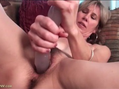 Hairy milf moans as she fucks thick dildo videos
