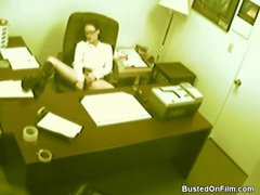 Sexy office girl masturbates on security cam videos