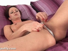 Soft blue satin slip on beautiful brunette videos