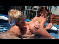 Hotties in hot tub lustily eat out pussy movies at find-best-babes.com