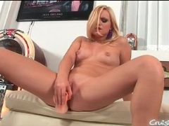Hot blonde blows and bangs her dildo movies at lingerie-mania.com